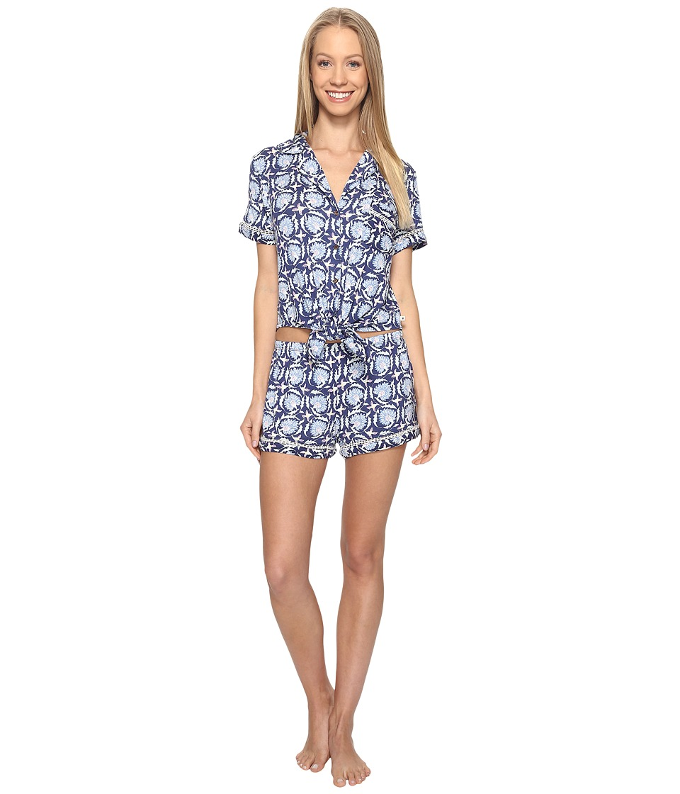 Lucky Brand - Notch Collar Short Pajama Set (Deco Floral Navy) Women's Pajama Sets
