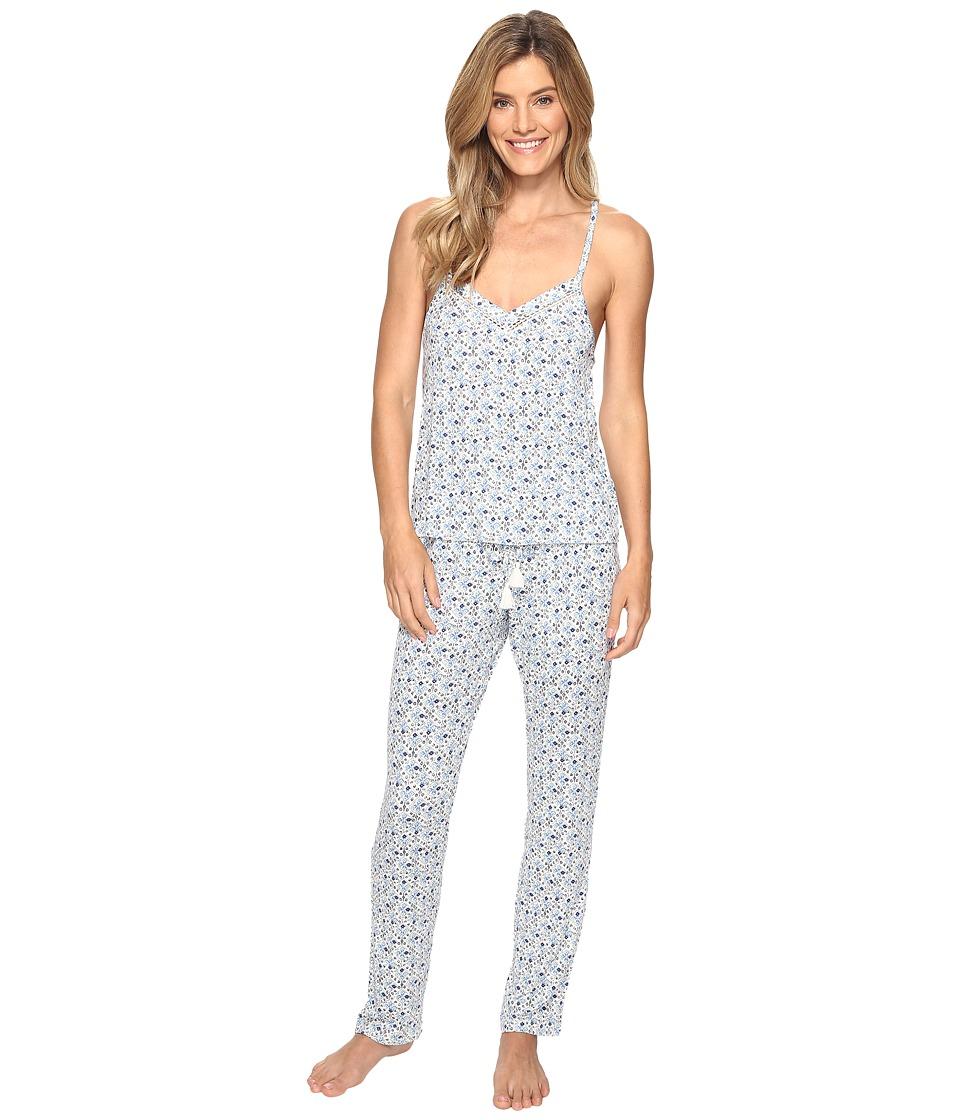 Lucky Brand - Crochet Inserts Cami Pajama Set (Marina Tile) Women's Pajama Sets