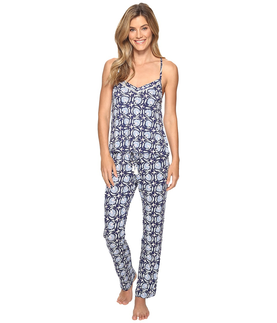 Lucky Brand - Crochet Inserts Cami Pajama Set (Deco Floral Navy) Women's Pajama Sets