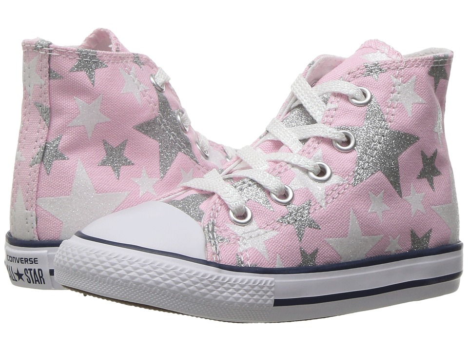 Converse Kids - Chuck Taylor All Star Hi (Infant/Toddler) (Fairy Tale/White/Silver) Girls Shoes