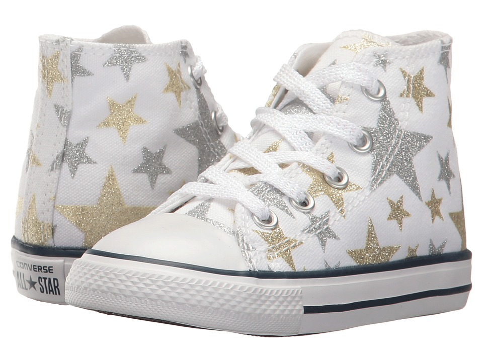 Converse Kids - Chuck Taylor(r) All Star(r) Hi (Infant/Toddler) (White/Silver/Gold) Girls Shoes