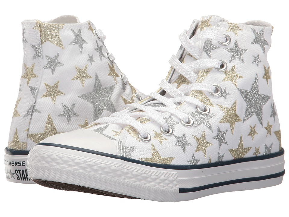 Converse Kids - Chuck Taylor All Star Hi (Little Kid) (White/Silver/Gold) Girls Shoes