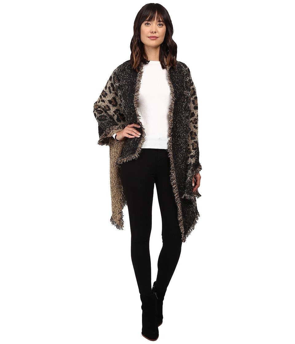 Betsey Johnson - Leapin Leopard Blanket Wrap (Tan) Women's Clothing