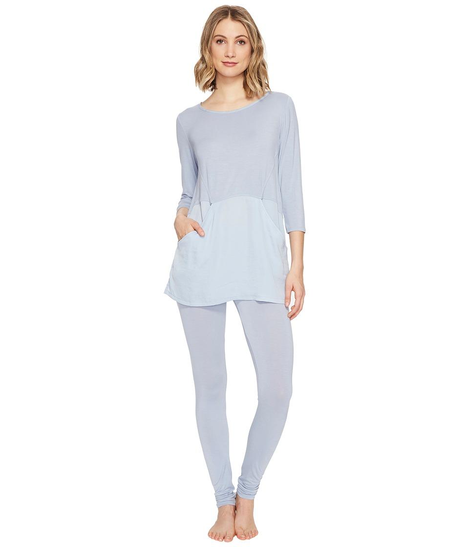 Midnight by Carole Hochman - Modal Pajama with Washed Satin (Blue Breeze) Women's Pajama Sets