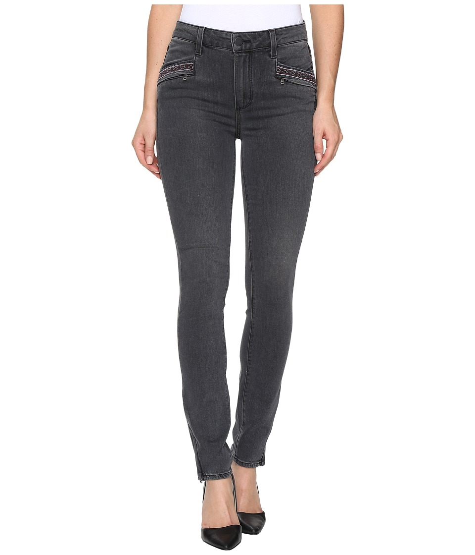 Paige - Riona Zip Ankle in Grey Melita Embroidery (Grey Melita Embroidery) Women's Jeans