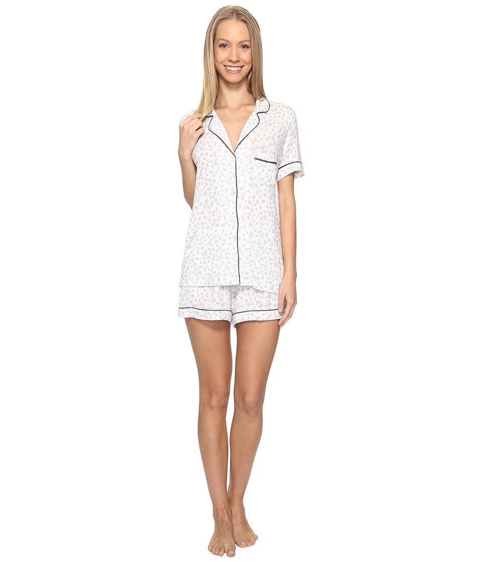 DKNY - Short Sleeve Top Boxer Set (White/Print) Women's Pajama Sets