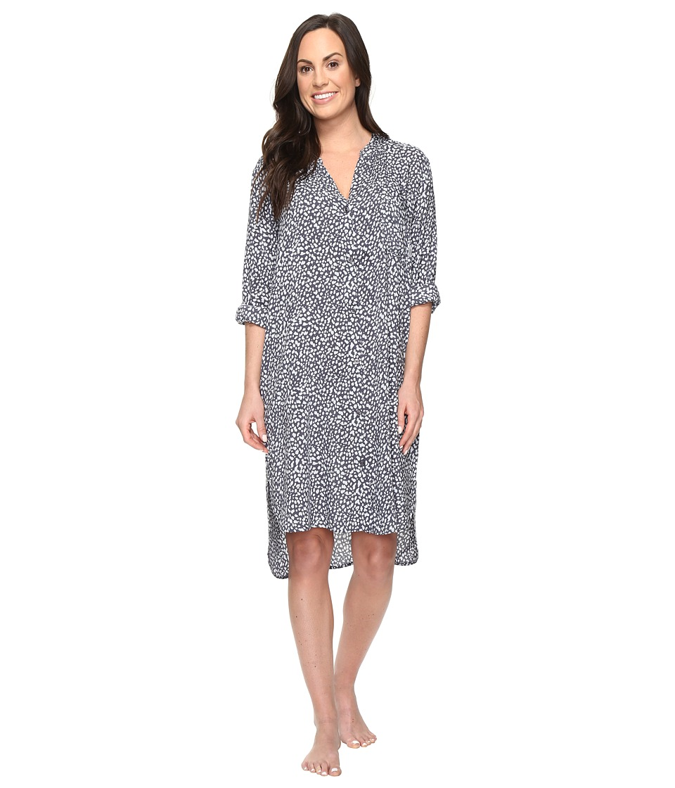 DKNY - Long Sleeve Boyfriend Shirt (Grey Print) Women's Pajama