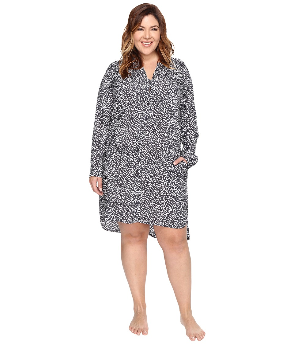 DKNY - Plus Size Long Sleeve Shirtdress (Grey Print) Women's Pajama