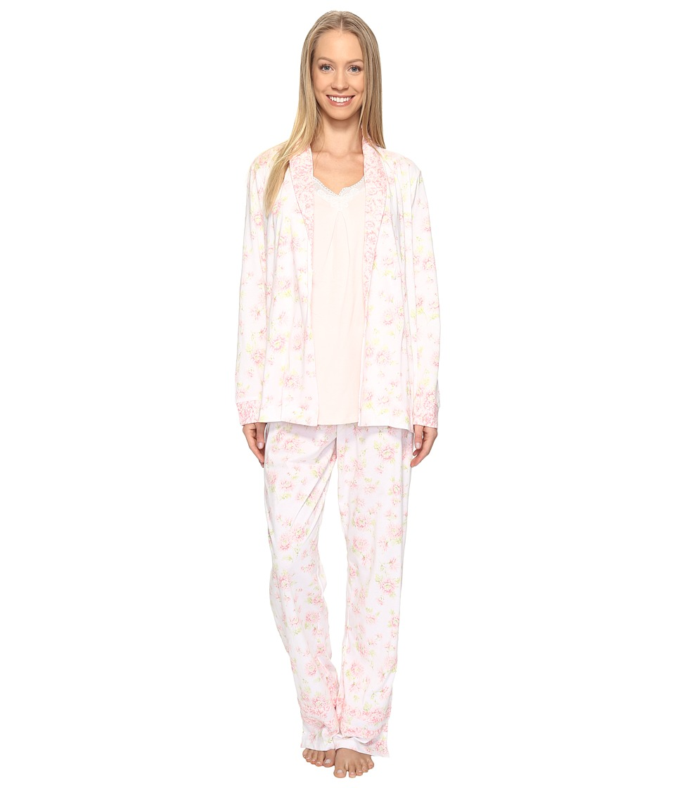 Carole Hochman - Knit Jersey Three-Piece PJ (Falling Mums) Women's Pajama Sets