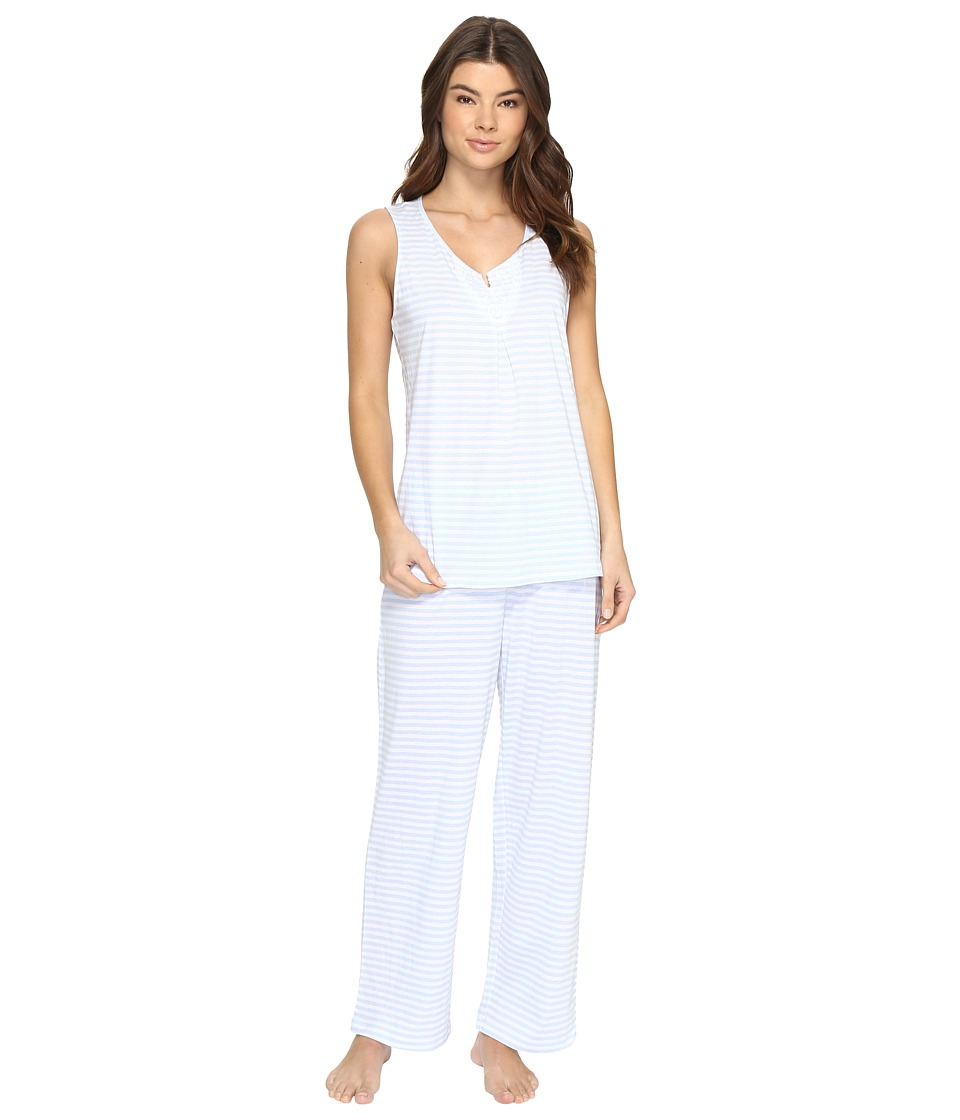 Carole Hochman - Striped Jersey Pajama (Blue Stripe) Women's Pajama Sets