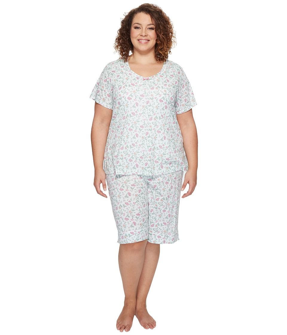 Carole Hochman - Plus Size Knit Bermuda PJ (Flower Toss) Women's Pajama Sets