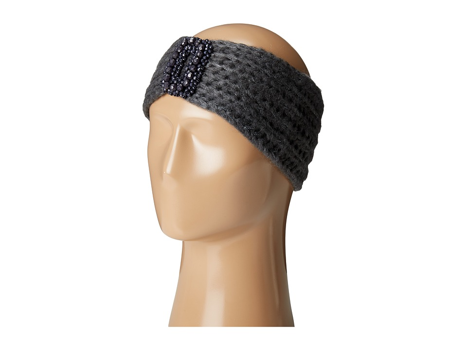 Betsey Johnson - Beaded Centered Headband (Charcoal) Headband