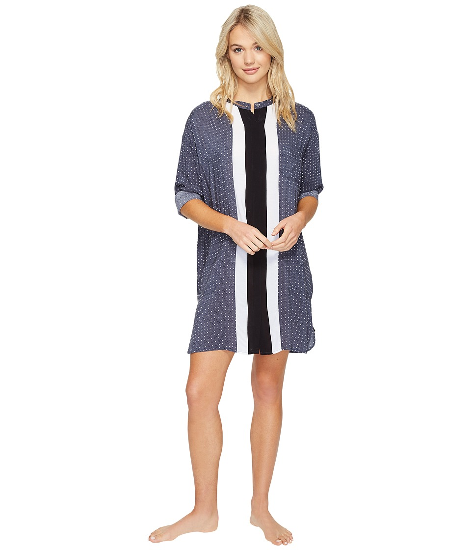 DKNY - Long Sleeve Boyfriend Shirt (Grey Geo) Women's Pajama