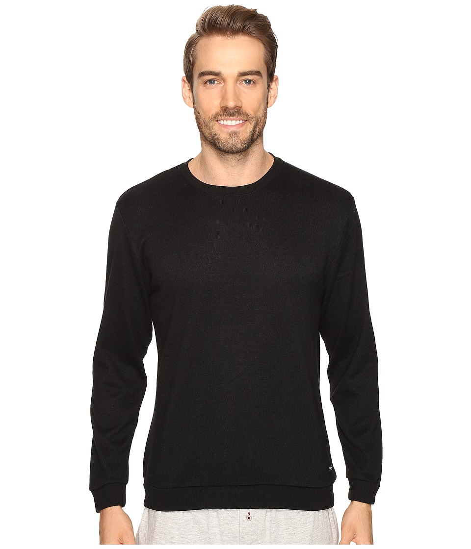 Kenneth Cole Reaction - Sleep Crew Long Sleeve (Black Solid) Men's Pajama