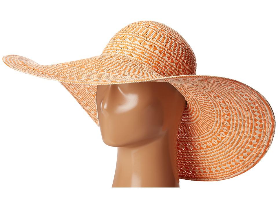 LAUREN Ralph Lauren - Basketry Weave Sun Hat (Orange/Natural) Caps