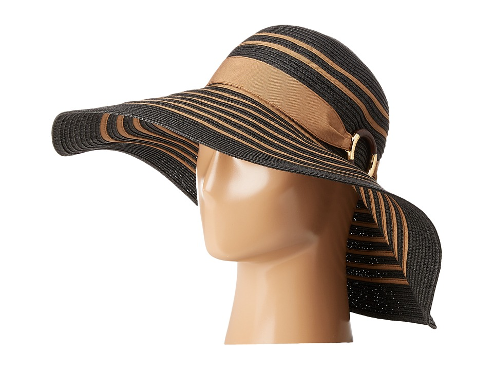LAUREN Ralph Lauren - Bright Natural Sun Hat (Black/Khaki) Caps