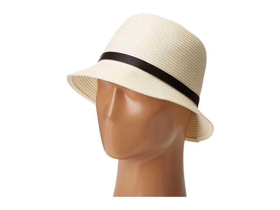 LAUREN Ralph Lauren - Cloche Hat w/ Leather Belt (Cream/Black) Caps