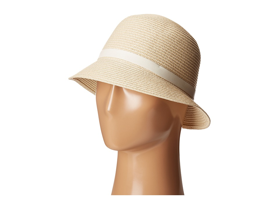 LAUREN Ralph Lauren - Cloche Hat w/ Leather Belt (Natural/Cream) Caps