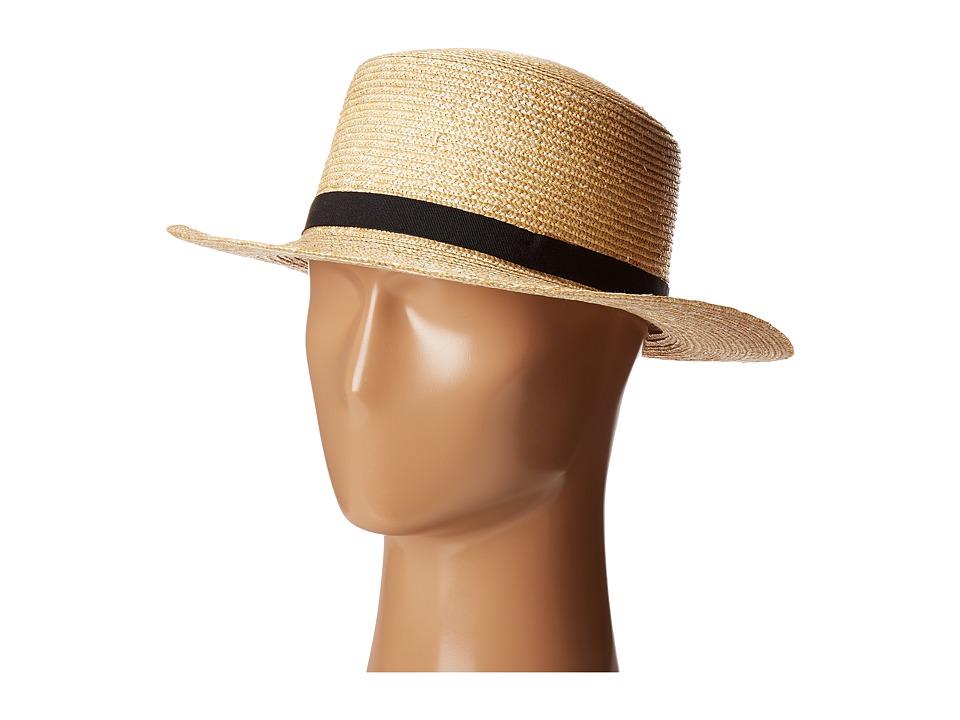 LAUREN Ralph Lauren - Wheat Straw Boater Hat (Natural) Caps