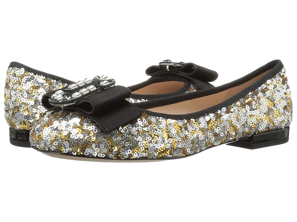 Marc Jacobs Interlock Round Toe Ballerina (Gold/Silver) Women