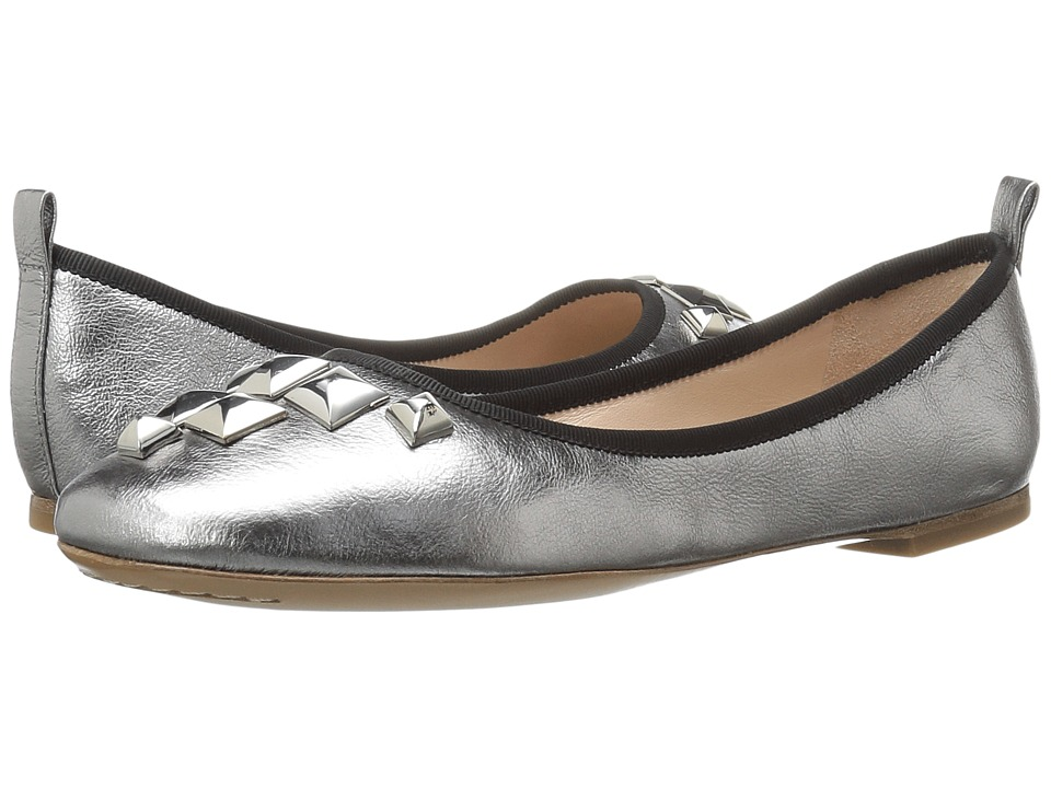 Marc Jacobs - Cleo Studded Ballerina (Dark Silver Leather) Women's Ballet Shoes