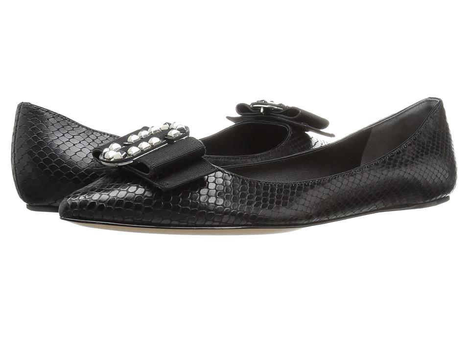 Marc Jacobs - Interlock Pointy Toe Ballerina (Black Leather/Gunmetal) Women's Ballet Shoes