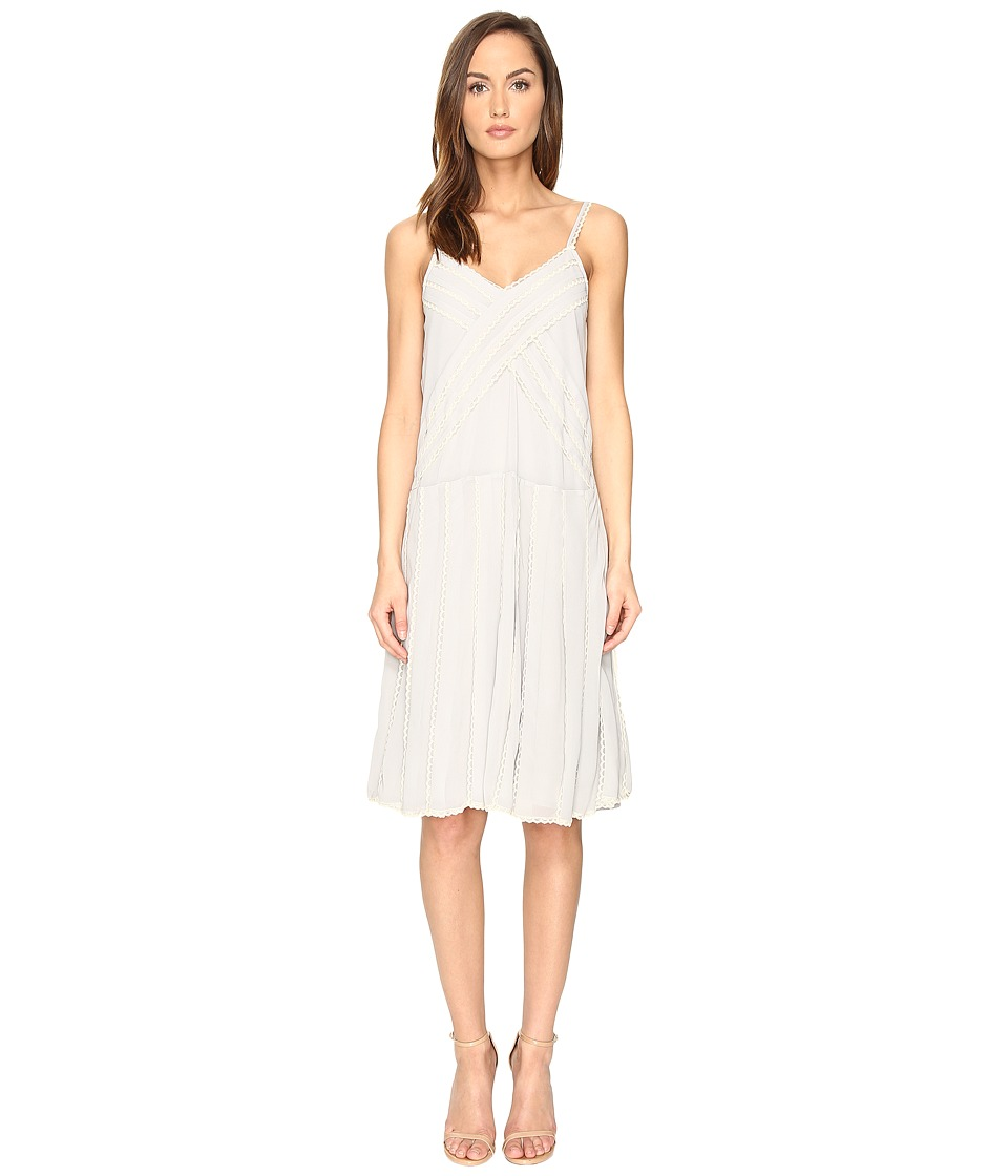 RED VALENTINO - Georgette and Lace Dress (Alluminio) Women's Dress
