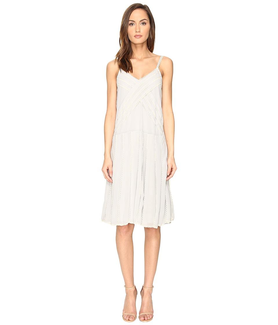 RED VALENTINO - Georgette and Lace Dress (Alluminio) Women's Dress