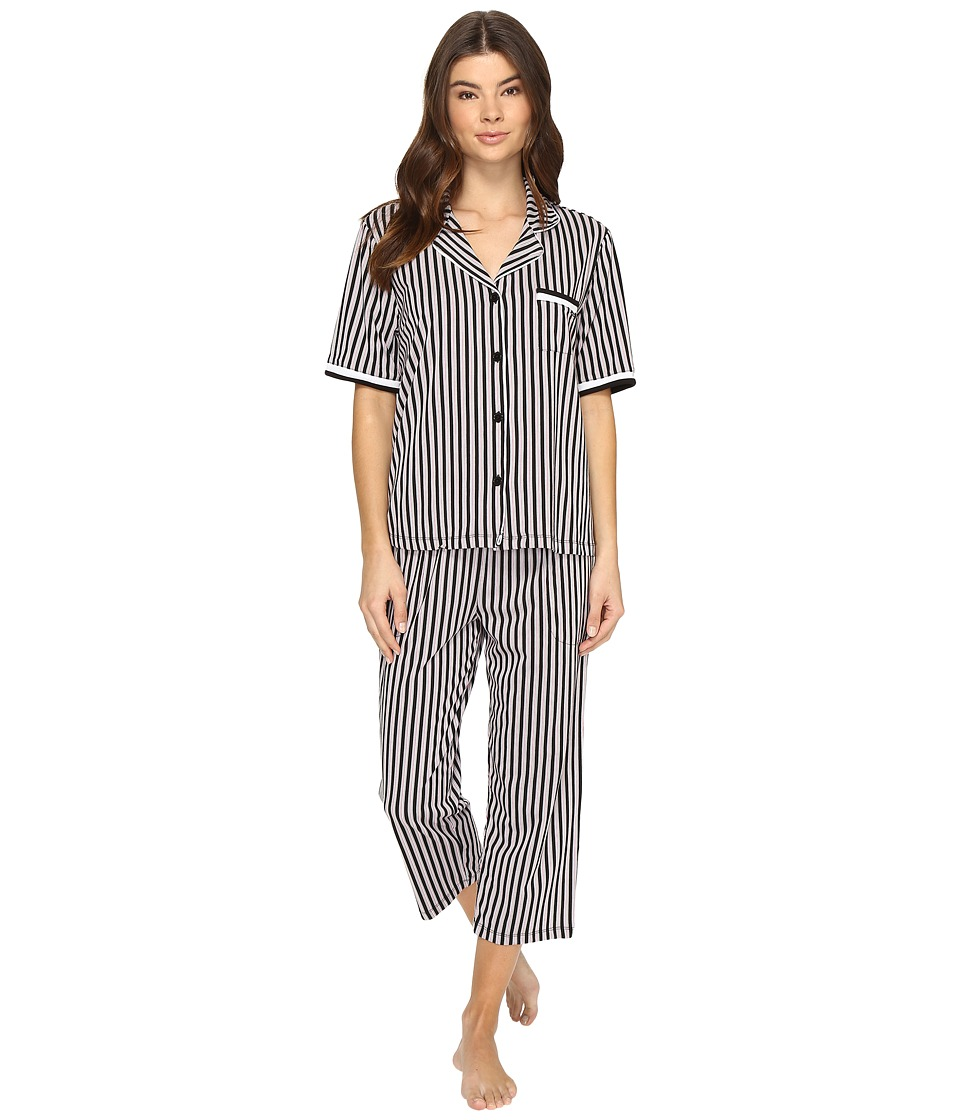 DKNY - Short Sleeve Top Capris Set (Black Stripe) Women's Pajama Sets