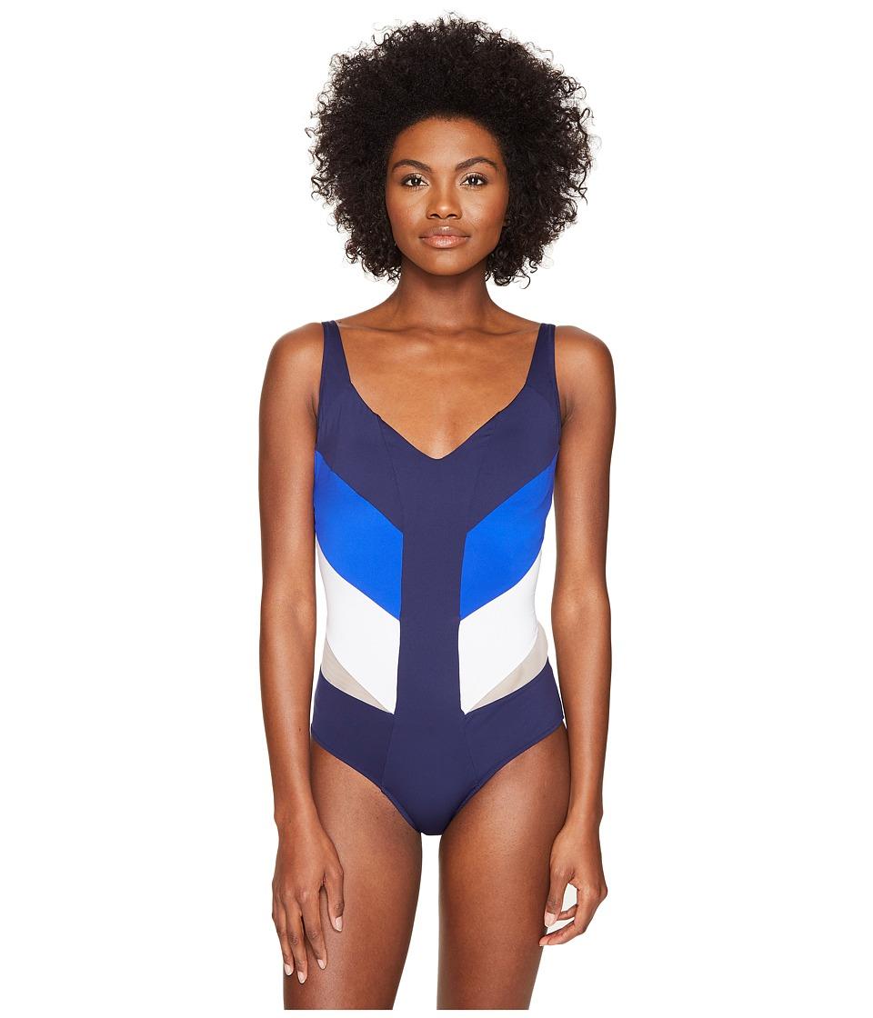 La Perla - Color Power Underwire One-Piece (Navy/Cobalt/White) Women's Swimsuits One Piece
