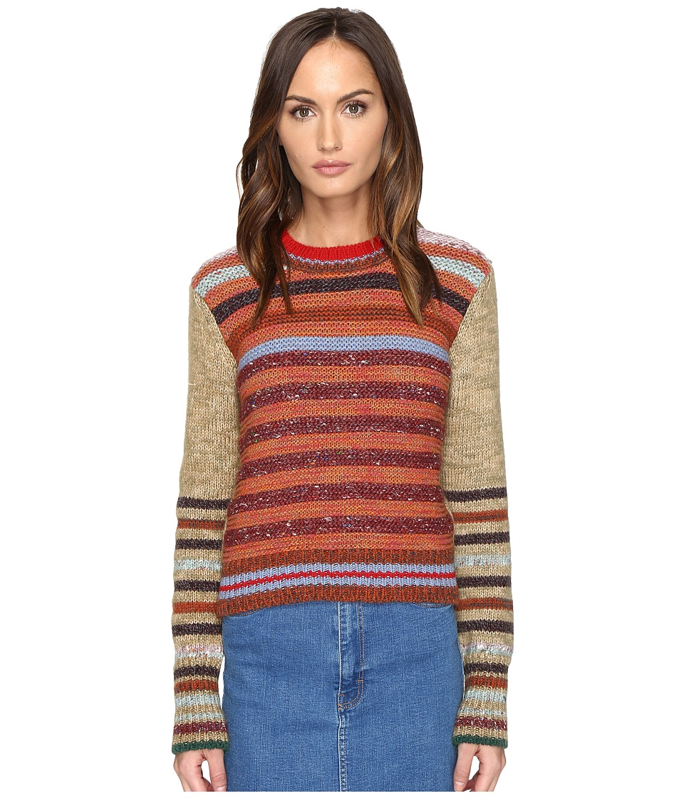 RED VALENTINO - Mix Carded Mouline Yarn with Stripes Detail (Duna/Multicolor) Women's Clothing