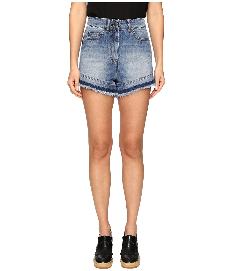 RED VALENTINO - Denim Stone Wash Shorts (Medium Blue Denim) Women's Shorts