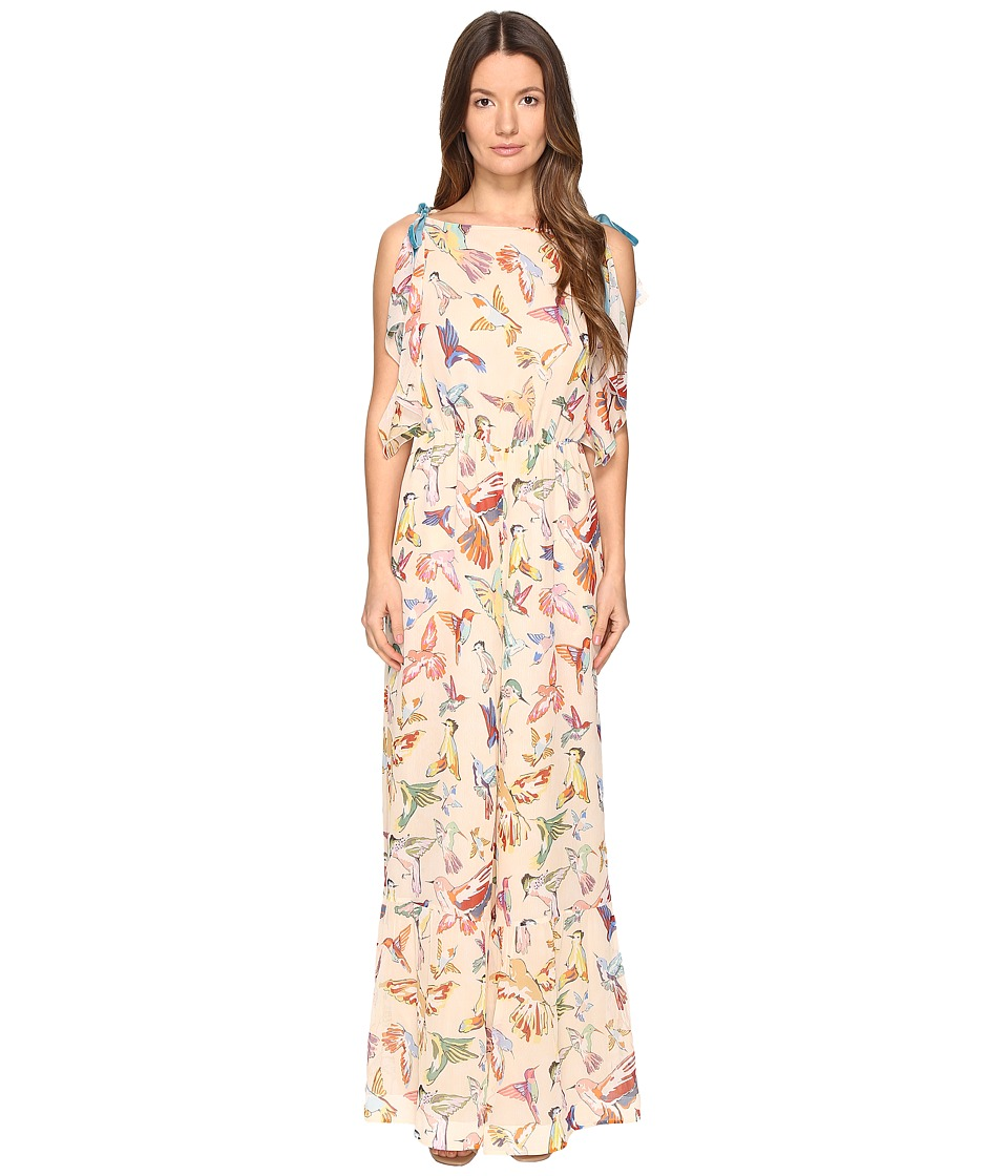 RED VALENTINO - Hummingbird Print Silk Creponne Jumpsuit (Soya) Women's Jumpsuit & Rompers One Piece