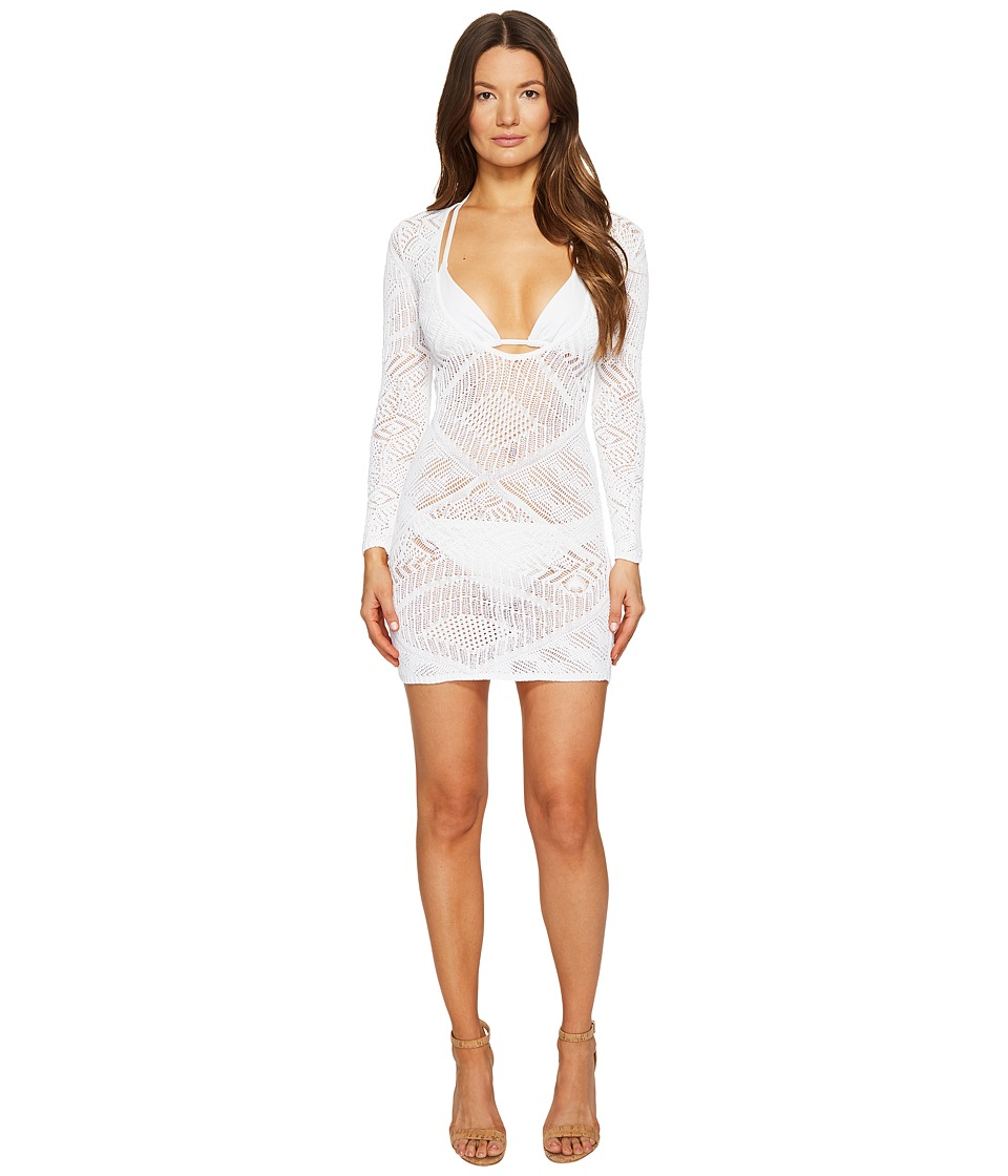 La Perla - Beyond The Beach Long Sleeve Short Dress (White) Women's Swimwear