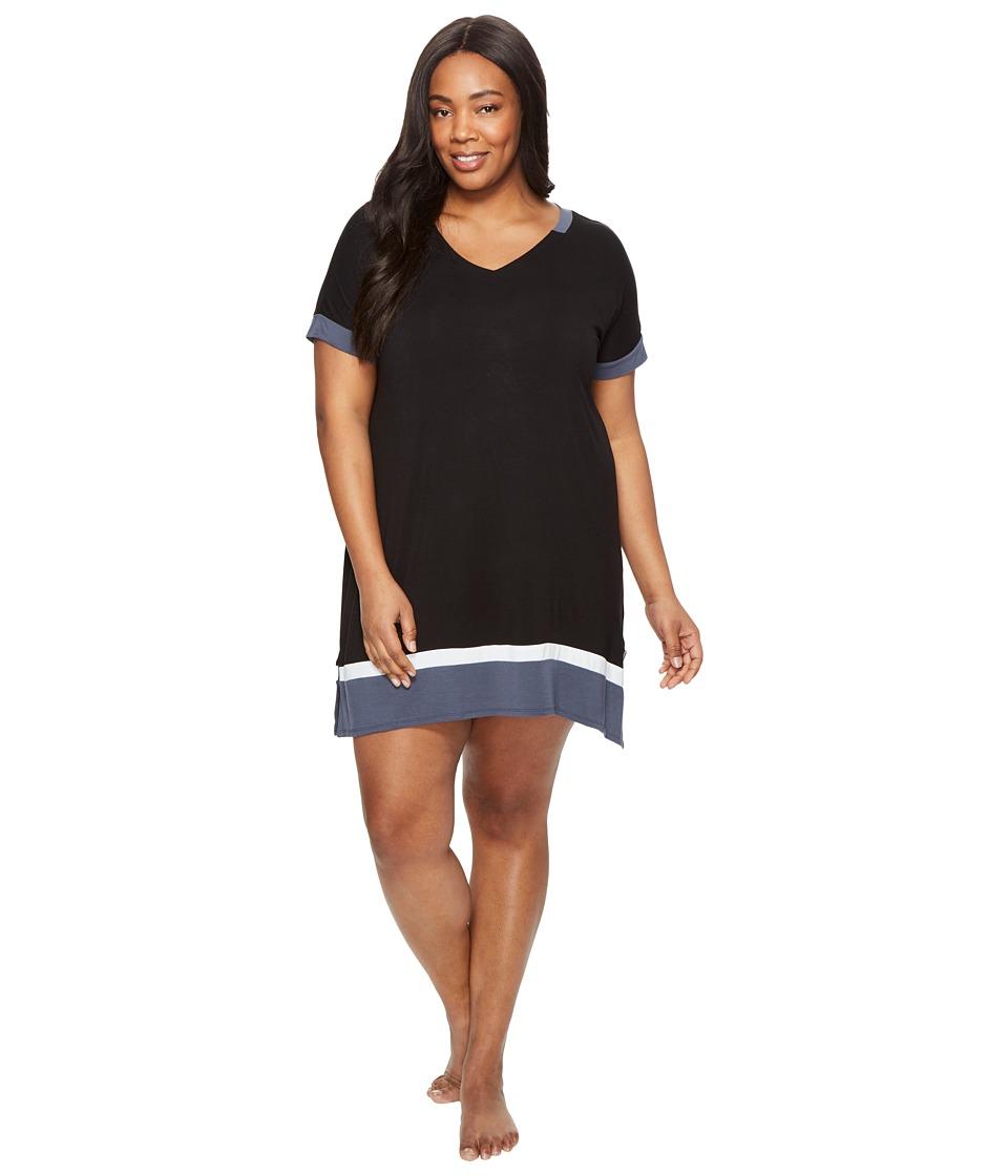 DKNY - Plus Size Short Sleeve Sleepshirt (Black) Women's Pajama