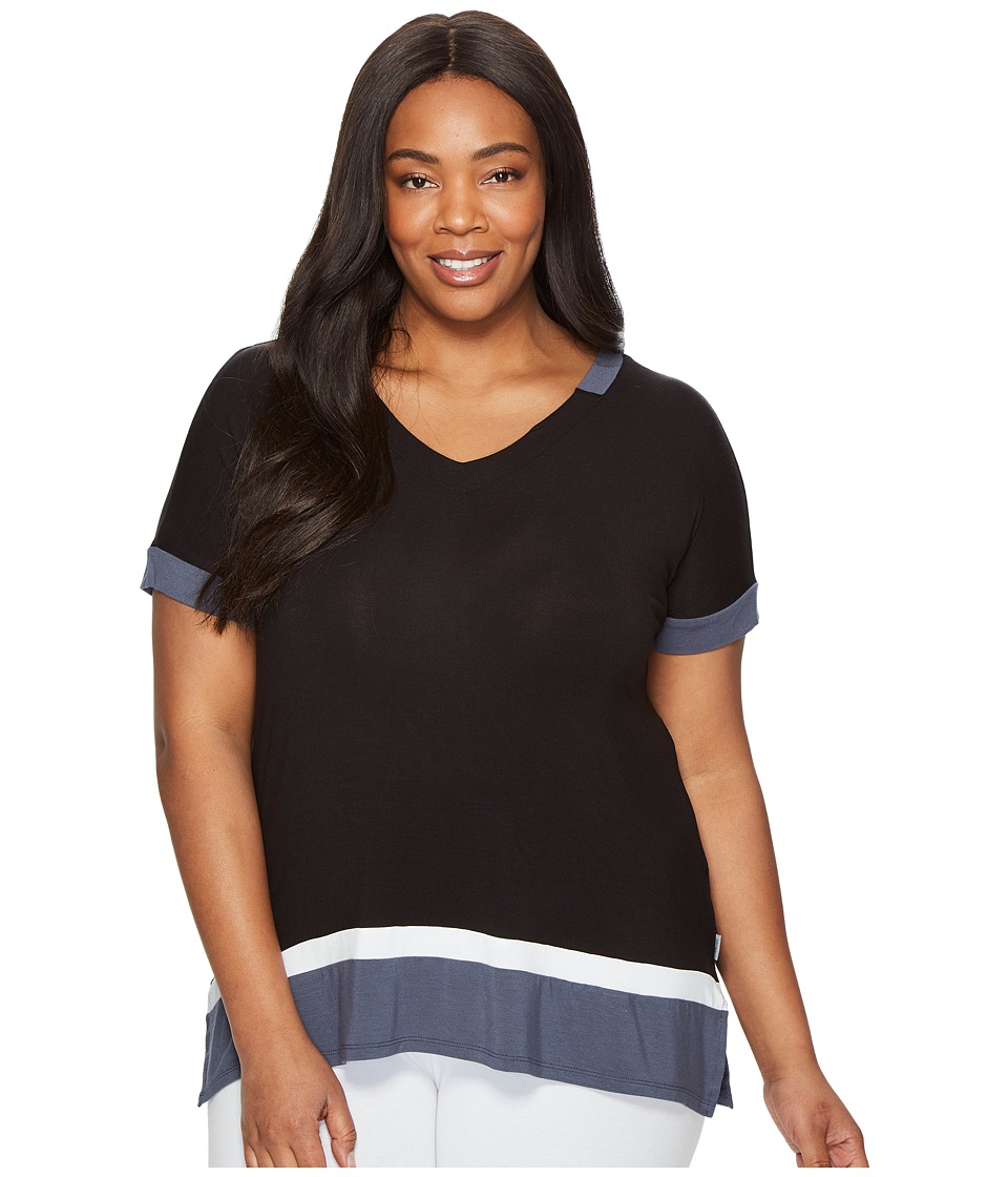 DKNY - Plus Size Short Sleeve Lounge Tee (Black) Women's Pajama