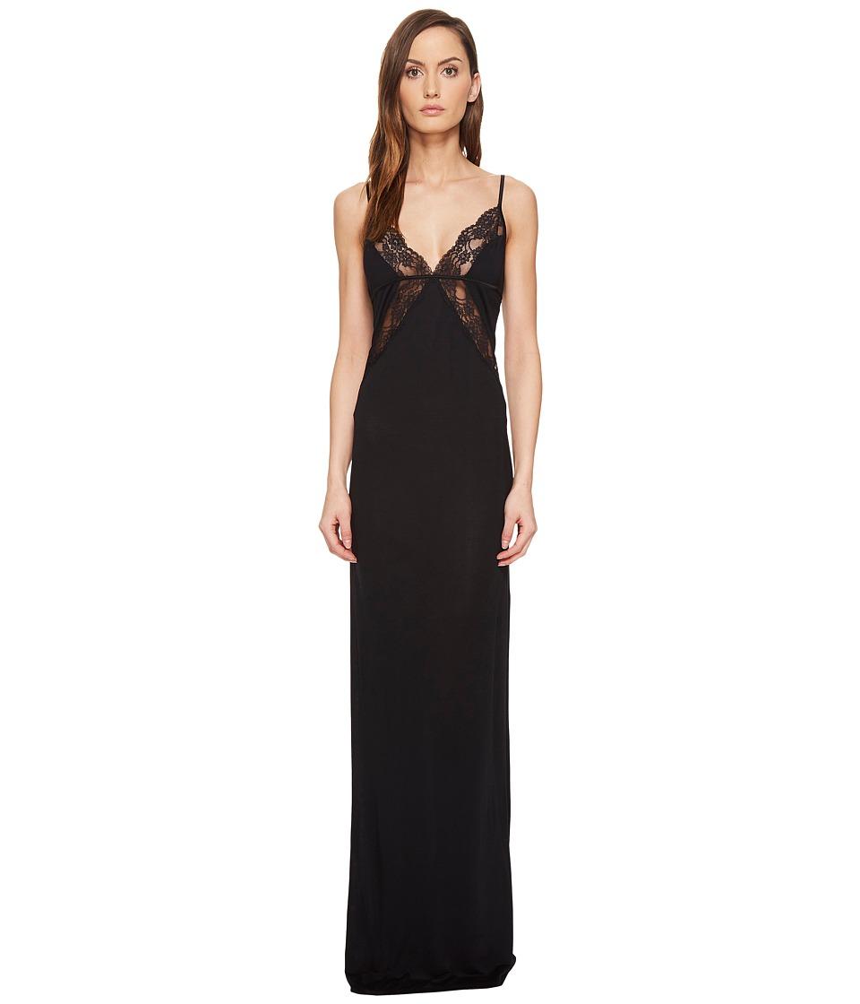 La Perla - Airy Blooms Night Gown (Black) Women's Pajama