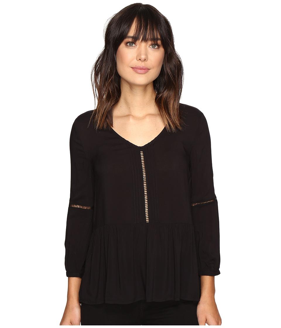 Calvin Klein Jeans - Pleated Drop Waist Peasant Blouse (Black) Women's Blouse