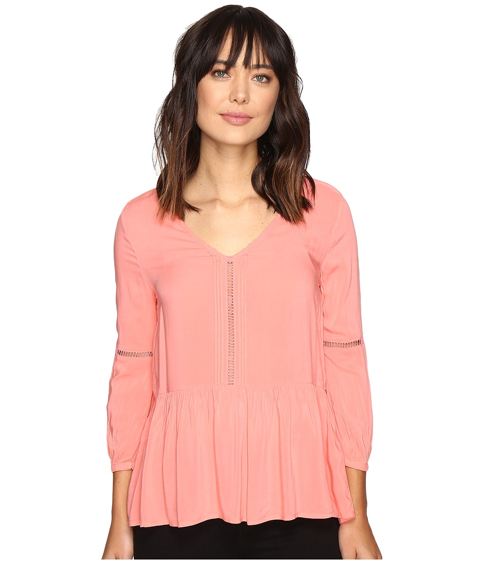 Calvin Klein Jeans - Pleated Drop Waist Peasant Blouse (Shell Pink) Women's Blouse