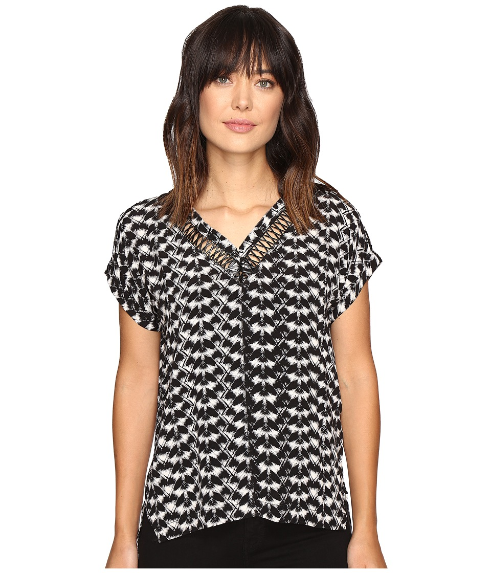 Calvin Klein Jeans - Printed Leather Lattice V-Neck Blouse (Black) Women's Blouse
