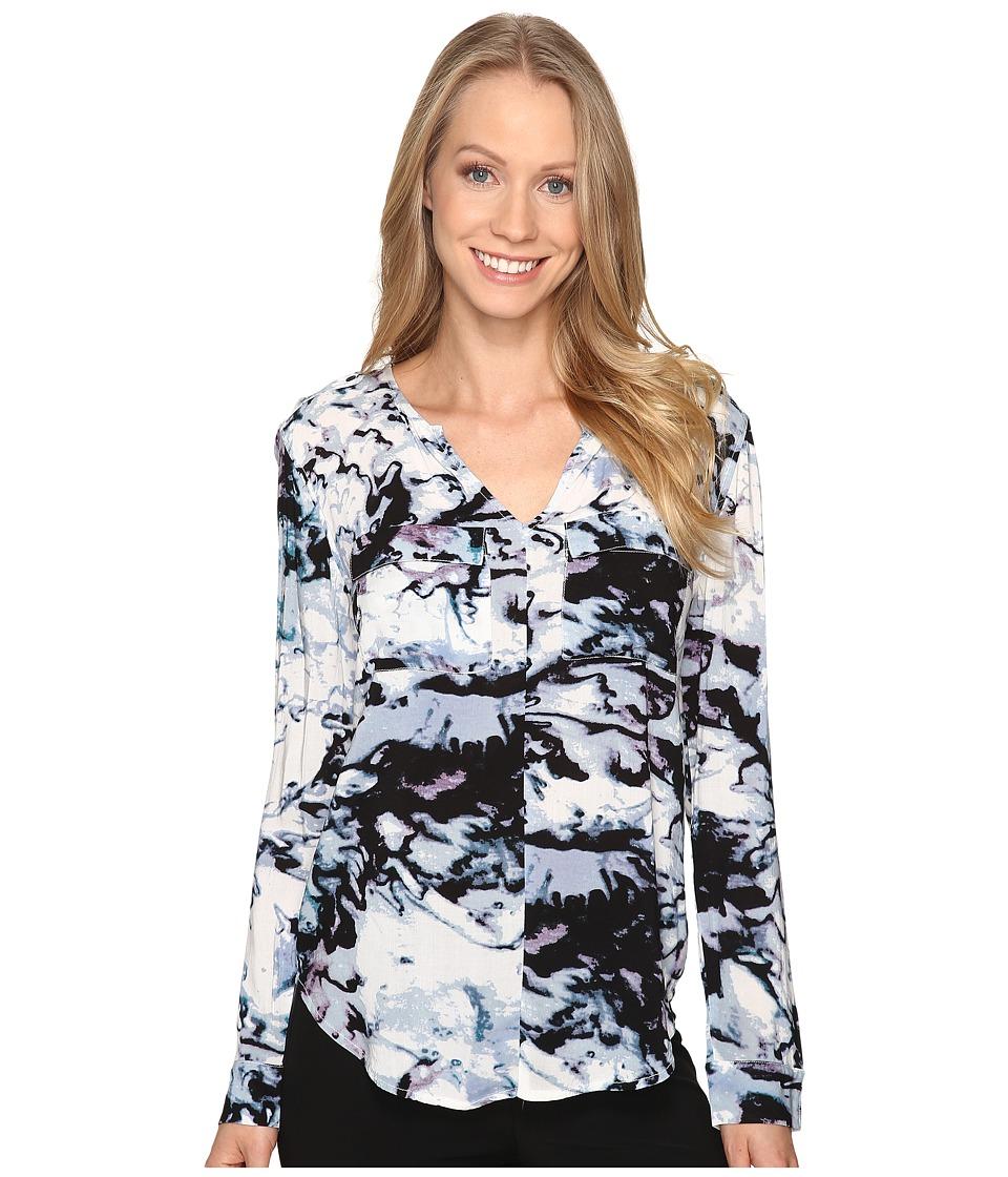 Calvin Klein Jeans - Printed Pop Over Blouse (White Wash) Women's Blouse
