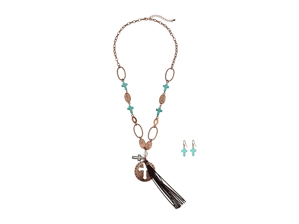 M&F Western - Cross Concho Fringe Necklace/Earrings Set (Copper) Jewelry Sets