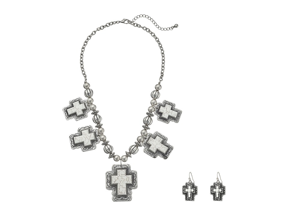 M&F Western - Stone Crosses Necklace/Earrings Set (White) Necklace