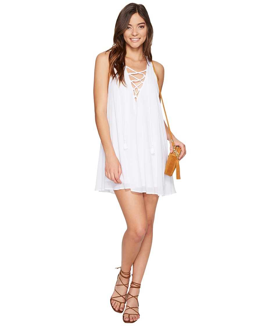 Show Me Your Mumu Rancho Mirage Lace-Up Tunic (White Chiffon) Women's Blouse