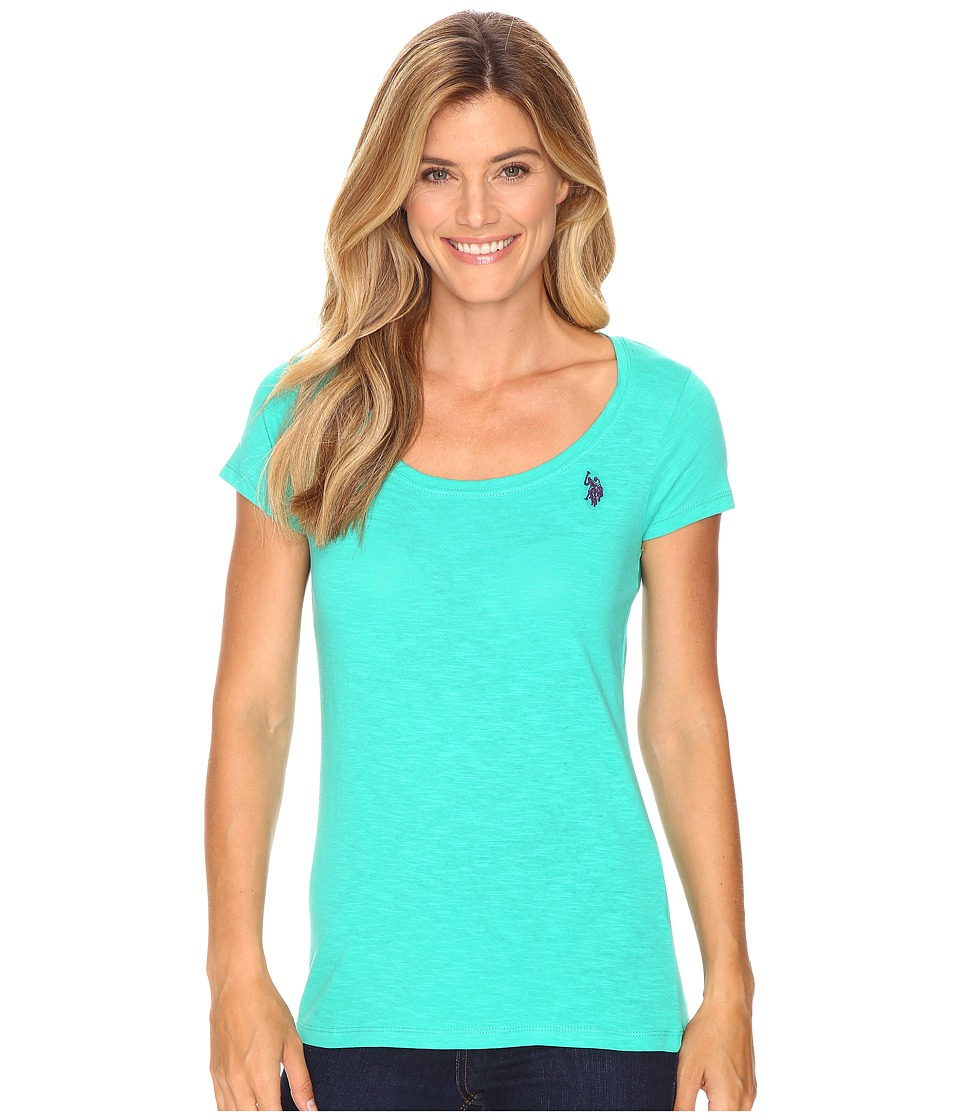 U.S. POLO ASSN. - Scoop Neck Solid T-Shirt (Peacock Green) Women's Short Sleeve Pullover