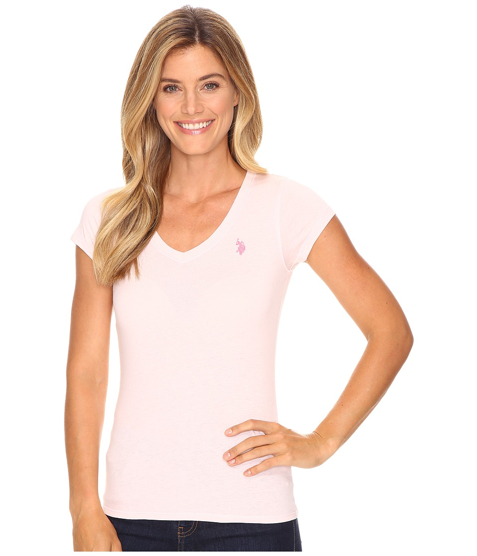 U.S. POLO ASSN. Solid V-Neck Tee (Coastal Pink) Women