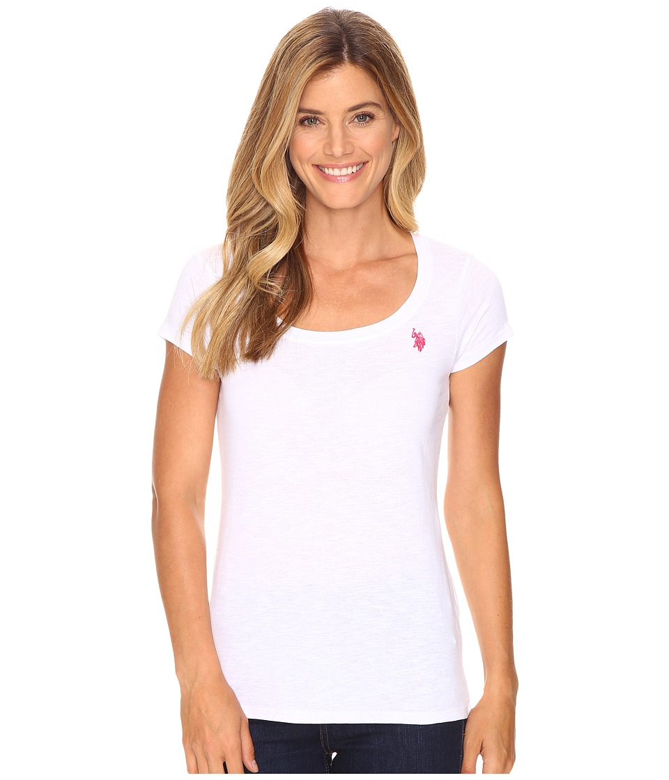 U.S. POLO ASSN. Scoop Neck Solid T-Shirt (Bright White) Women