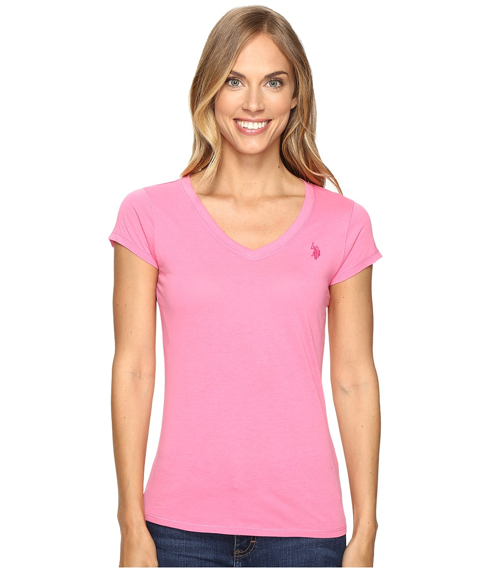 U.S. POLO ASSN. Solid V-Neck Tee (Azalea Pink) Women