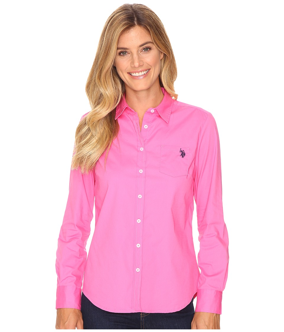 U.S. POLO ASSN. - Solid Single Pocket Long Sleeve Shirt (Shocking Pink) Women's Long Sleeve Button Up