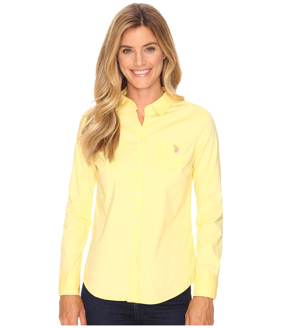 U.S. POLO ASSN. - Solid Single Pocket Long Sleeve Shirt (Popcorn) Women's Long Sleeve Button Up